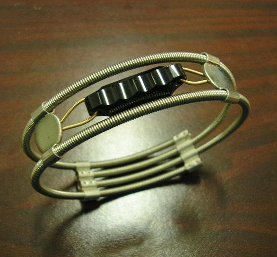new bass guitar string bracelet black onyx sterling silver. Black Bedroom Furniture Sets. Home Design Ideas