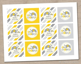 Printable Cupcake Toppers PDF Yellow Elephants Polka Dots and Stripes Baby Shower - INSTANT DOWNLOAD