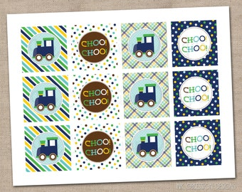 Boys Train Cupcake Toppers Printable PDF Blue Yellow Green Brown - INSTANT DOWNLOAD
