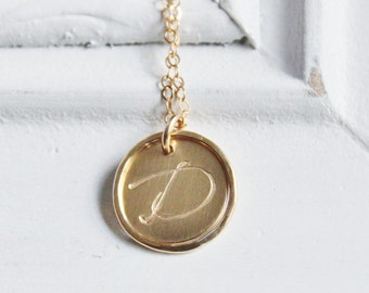 Gold Initial Necklace, Bridsmaid Necklace, Personalized Necklace, Hand Stamped Gold Necklace, Bridesmaid Gift, Monogram necklace