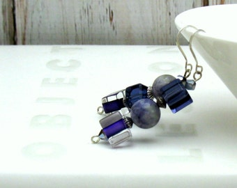 Purple Blueberry Minimalist  Quartz Geometric  Boho  Drop Earrings Asymmetrical For Her Under 45