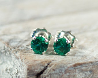 Emerald Stud Earrings 4mm Emerald Post Earrings May Birthstone Emerald Green Earrings