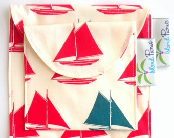 Sailboat Sandwich and Snack Bags, Eco Friendly Organic Cotton, Red and Blue - Set of 2 - Back to School