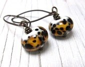 LEOPARD - Spotted Murano Glass Earrings, Animal Print