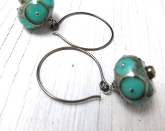 Turquoise Glass Earrings: Murano Glass Lampwork Earrings by SusanHeleneDesigns
