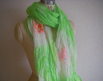 Japanese Vintage Silk Shibori Obi or Scarf(light green) very good condition never used