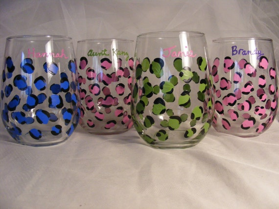 painted leopard print stemless  wine glasses - set of 4, your choice of custom colors