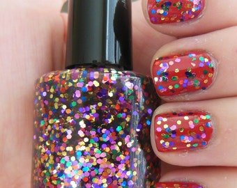 Mixed Color Metallic Glitter Indie Nail Polish Lacquer Handmade Party All the Time 2 Sizes