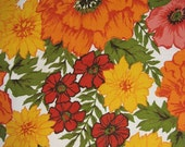 Reduced 60s 70s Fabric Vintage Floral Upholstery Cotton Pink Orange Red Flowers 2.5 yards