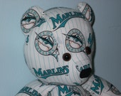 Teddy Bear Marlins Florida Miami Baseball MLB Teal White Baby Plush Pinstripes Summer