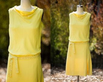 1960's  Lemon Yellow Drop Waist Crepe Dress With Iridescent Rhinestone Belt Sash Small-Medium