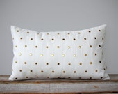 Gold Studded Pillow Cover in Cream Linen 12x20 | Polka Dot Pattern | by JillianReneDecor | Geometric Pillow, Holiday Home Decor, Gold Studs