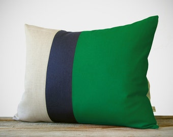 16x20 Color Block Pillow in Emerald, Navy & Natural Linen by JillianReneDecor - Modern Home Decor - Striped Trio - Kelly Green
