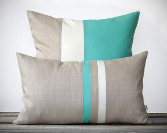 Mint Pillow Set - (12x20) Stripe and (20x20) Color Block  by JillianReneDecor - Modern Home Decor - Beach House - Coastal - Turquoise SS2016