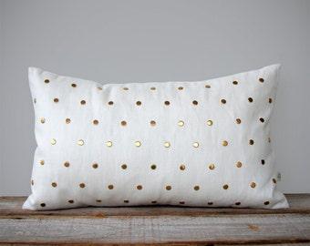 Gold Studded Pillow Cover in Cream Linen 12x20 | Polka Dot Pattern | by JillianReneDecor | Geometric Pillow, Brass Home Decor, Gold Studs