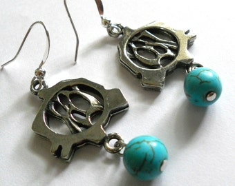 Turquoise earrings, silver and turquoise dangle earrings, bohemian jewelry