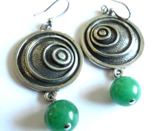 Green jade Earrings,  Bohemian unique green jade and silver dangle earrings,  Gypsy jewelry