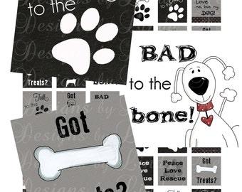 Instant Download Dogs Rule (.75 x .83 scrabble tile inch) Bottlecap Images Digital Collage Sheet - Printable dog image bade to the bone