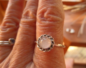 Rose Quartz and Sterling Silver Stacker/Ring