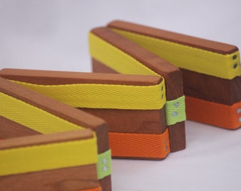 Toy Jacob's Ladder - Handcrafted Wooden Folk Toy - Jacob's Ladder - Orange Yellow Green
