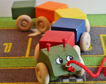 Toy Caterpillar Pull Toy - Handcrafted Wooden Caterpillar Pull Toy