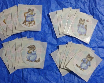 Victorian Kitty Cat Stickers made from repurposed wrapping paper