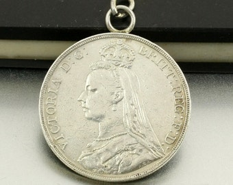 Antique Coin Pendant Sterling Silver Coin Pendant 1891 Queen Victoria Coin British Full Crown Coin 1 oz Sterling Silver Large Coin Pendant
