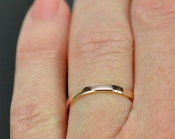 Rose Gold Wedding Band, Simple Stacking Ring 14K Gold, 2mm, Recycled Eco Friendly, Sea Babe Jewelry