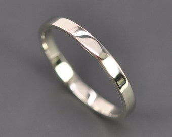 White Gold Wedding Band, 2mm by 1mm Flat Edge Ring, 14K Palladium White Gold, Recycled Metals, Eco Friendly, Sea Babe Jewelry