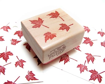 Autumn Maple Leaves, Hand Carved Rubber Stamp