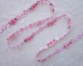 Pink Rococo Ribbon Trim w Rose Bud Flower Scrapbook Baby Quilt Bridal Pageant