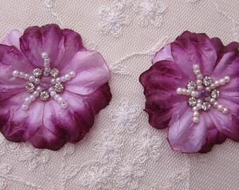 2 pc Handmade PURPLE LAVENDER Jasmine flower applique w rhinestone pearl for Hat Bridal Wedding Corsage Hair clip
