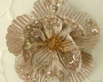 """2.75"""" Handmade Velvet Beaded w Sequins Glass Beads Mocha Tan Poppy Flower Christening Bridal Corsage"""