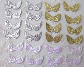 1.5 inch 24 Pc Small SILVER GOLD Pearl WHITE Fabric Fairy Angel Collage Altered Art Scrapbook Wings