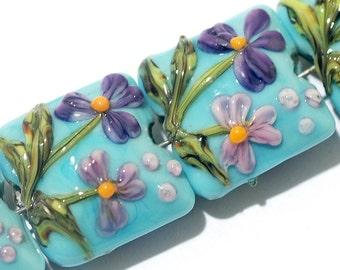 Four Kiley's Bouquet Pillow Beads 11605814 - Handmade Grace Lampwork Beads