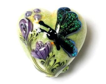 Handmade Glass Lampwork Bead - Green Sparkle Garden Butterfly Heart 11834905