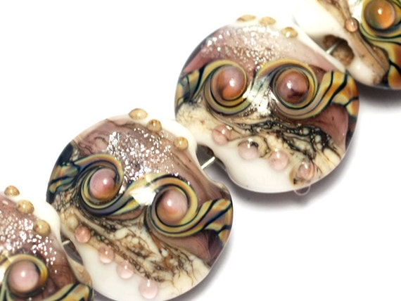 Glass Lampwork Bead Set - Four Blushing Pink Stardust Lentil Beads 10603512