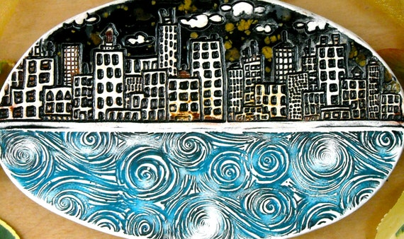 City & Sea at Night Spoon Rest, Dish - HandMade Eco Rustic Stamped Buildings, Water, Clouds, Stars Ring Jewelry Holder - Turquoise Gold Tray