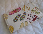 CUSTOM MADE to Order Checkbook Cover or Coupon Organizer Fun Flip Flops for Summer