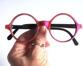 1960's French Hot Pink Checkered Round Eyeglass Frames Vintage Eyewear France