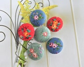 "Fabric Buttons, Small Red Blue Green Floral Flower Fabric Covered Buttons, Small Floral Flower Fridge Magnets, Flat Backs. 0.8 "" 6's"