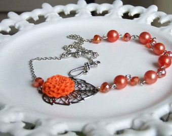 Orange You Glad it's Fall Chrysanthemum Cabochon Necklace