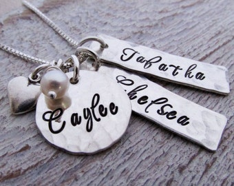 Hand Stamped Mommy Necklace - Heart - personalized mothers necklace