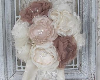 Brooch Bouquet, blush wedding, bridal bouquet with fabric flowers, Wedding flowers, Vintage bouquet