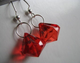 Red Earrings , Ruby Red Acrylic Earrings, Red Faceted Large Faux Crystals