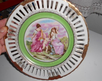 Lovely Vintage Shabby Chic Look Porcelain Plate with 2 women and a Angel Made in Occupied Japan