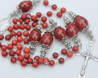 Handmade Red Sponge Coral and Glazed Ceramic Beaded Catholic Rosary, Custom Rosaries, Catholic Rosaries, Religious Jewelry