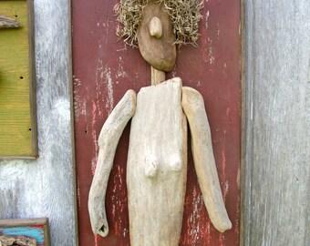 Driftwood Found Art, Woman OOAK Folk Art Figure