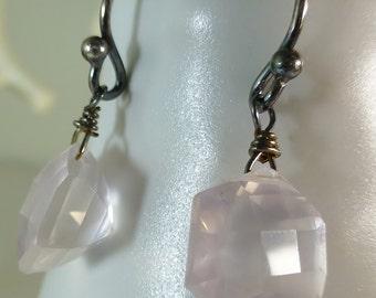 Rose Quartz  Sterling Silver Earrings,oxidized, fancy octagon faceted,dangle earrings,pink earrings, fancy cut, #earringsoftheday