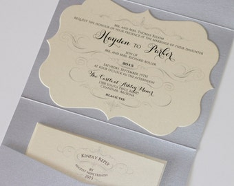Hayden Die-cut Glitter Wedding Invitation - Pocket fold - Vintage Wedding Invitation - Ivory metallic, Silver Glitter - Sample